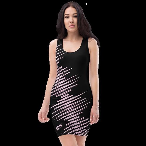 Body Con Dress - EDM J to F Sound Bars Pink - Black