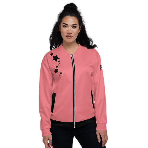 Women's Unisex Fit Bomber Jacket - EDM J to F Coral - Black Star