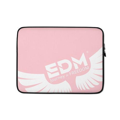 "Baby Pink Laptop Sleeve - 13"", 15"" - EDM Journey to Freedom Print - White"