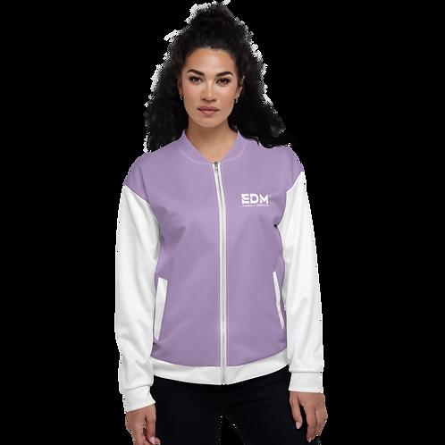 Womens Unisex Fit Bomber Jacket - EDM Journey to Freedom White / Lilac