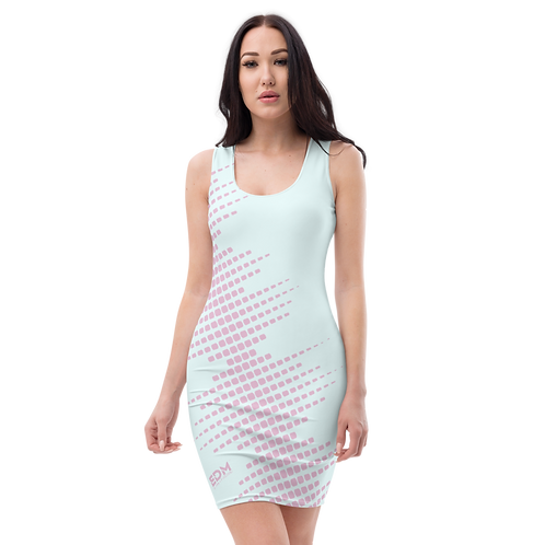 Body Con Dress - EDM J to F Sound Bars Pink - Ice Blue