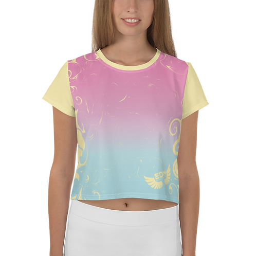 Women's Crop Top - Gradient Pink/Blue/Yellow - EDM J to F