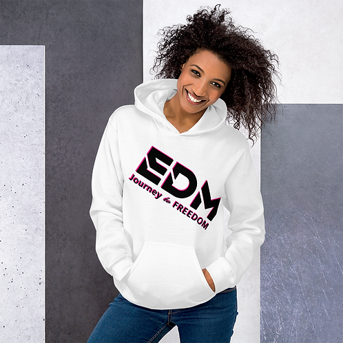 Women's Unisex Hoodie EDM J to F Text Print Black/Hot Pink - White