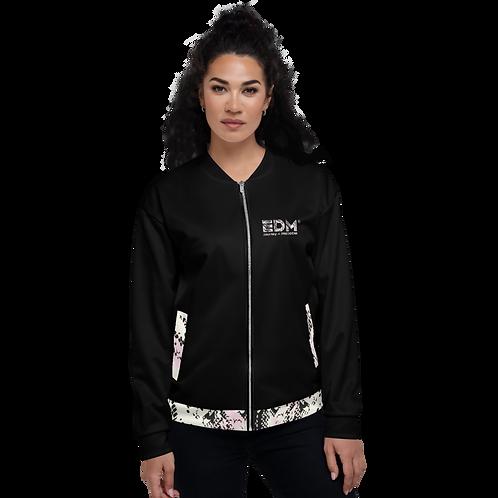 Women's Unisex Fit Bomber Jacket - EDM J to F Snake Print - Black