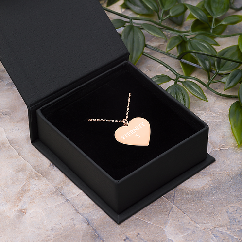 Engraved Silver / Rose Gold Heart Necklace - 'ETERNITY X'