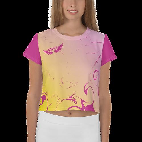 Women's Crop Top - Gradient Yellow/ Pink/Dark Pink - EDM J to F