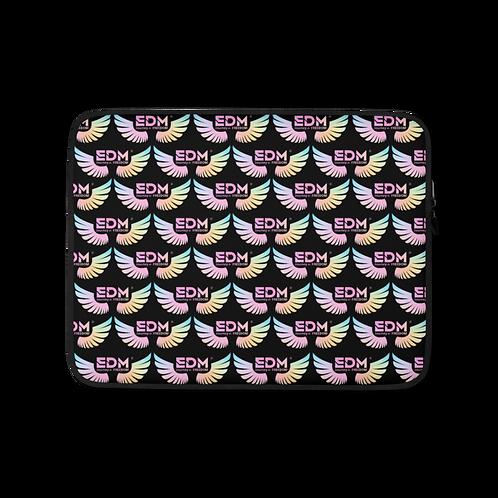 """Laptop Sleeve 13""""/15"""" - EDM J to F Tye Dye Logo Pattern - Black"""