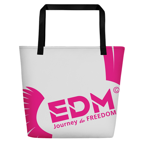 Beach Bag - Light Grey EDM Journey to Freedom Print - Hot Pink