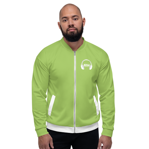 Mens Unisex Fit Bomber Jacket - EDM J to F - Green / White DJ Style
