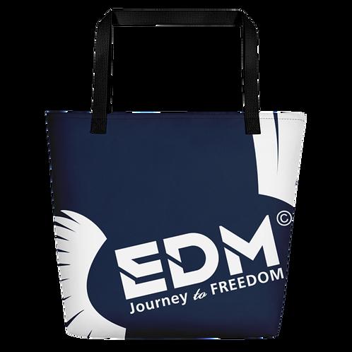 Beach Bag - Navy EDM Journey to Freedom Print - White