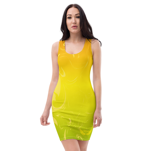 Body Con Dress - EDM J to F Yellow/Orange/Green Gradient Swirl - Yellow