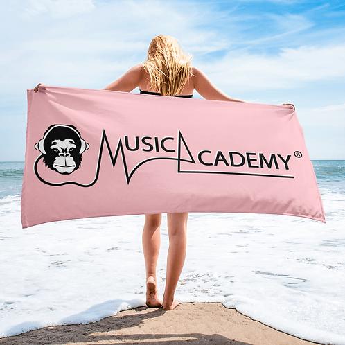 Beach / Bath Towel - GS Music Academy Ape / Text - Pink