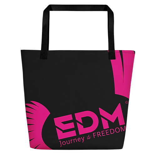 Beach Bag - Black EDM Journey to Freedom Print - Hot Pink