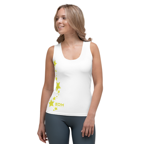 Women's Vest - EDM J to F Lime Yellow Star - White