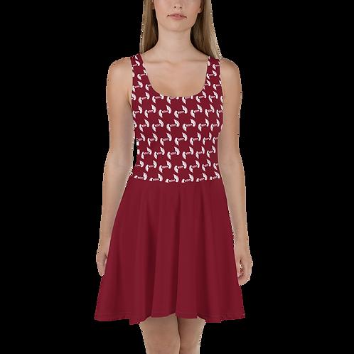 Burgundy Skater Dress EDM Journey to Freedom Skirt Pattern Print - White