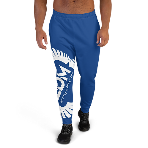 Royal Blue Men's Joggers - EDM Journey to Freedom Print - White