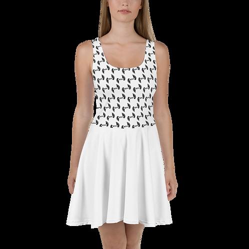 White Skater Dress EDM Journey to Freedom Skirt Pattern Print - Black