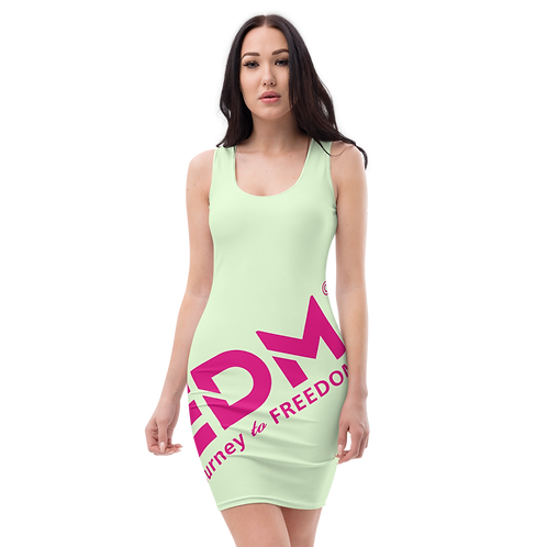 Body Con Dress - Light Green EDM Journey to Freedom No wings Print - Hot Pink