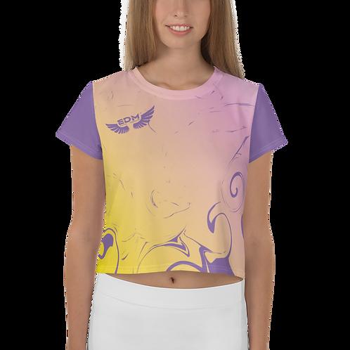 Women's Crop Top - Gradient Yellow/ Pink/Purple - EDM J to F