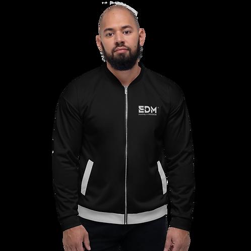 Mens Unisex Fit Bomber Jacket - EDM Journey to Freedom Black / Grey