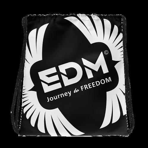 Black Drawstring Bag - EDM Journey to Freedom Large Print - White