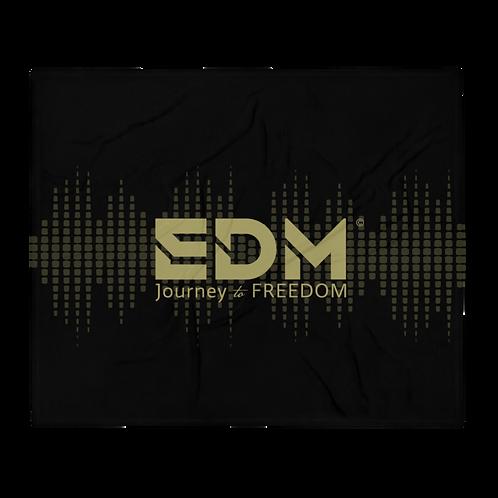 Fleece Throw Blanket - 50 x 60cm - EDM J to F Sound bars - Black / Gold