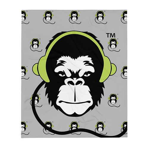 Fleece Throw Blanket - GS Music Academy Ape DJ Large & Pattern - Grey
