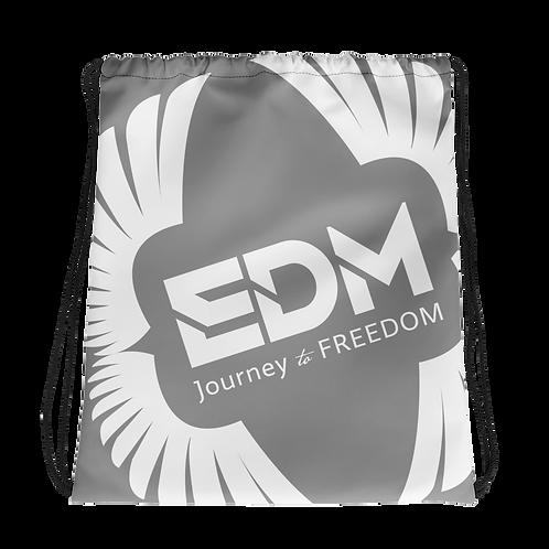 Grey Drawstring Bag - EDM Journey to Freedom Large Print - White