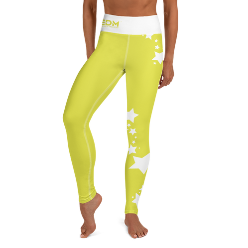 Women's Leggings White Star - EDM J to F Lime Yellow