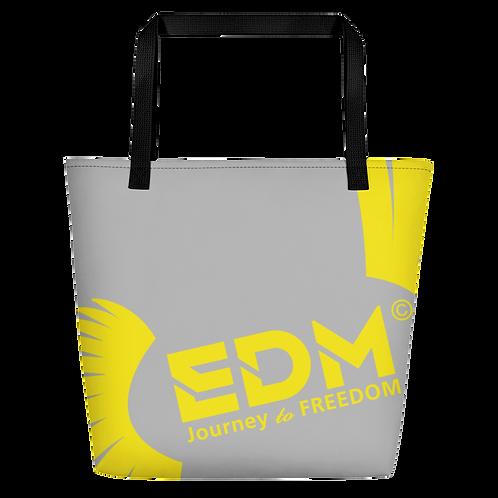 Beach Bag - Grey EDM Journey to Freedom Print - Yellow