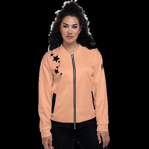 Women's Unisex Fit Bomber Jacket - EDM J to F Peach - Black Star