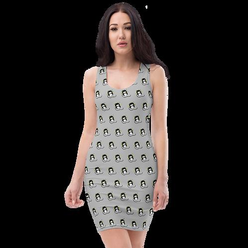 Women's Body Con Dress - GS Music Academy Ape DJ Pattern - Grey