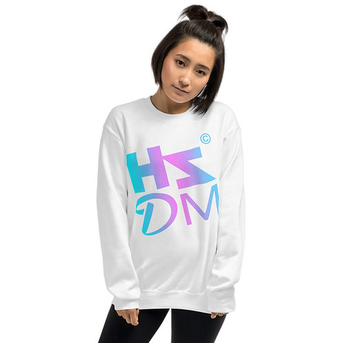 Women's Sweatshirt - HS Design & Music Multi Gradient Logo - White
