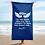 Thumbnail: Beach Towel / Towel - EDM J to F Slogan Print White - Royal Blue