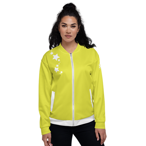 Women's Unisex Fit Bomber Jacket - EDM J to F - Lime Yellow White Star