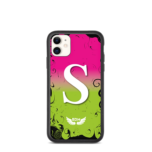 Biodegradable iPhone case-Hot Pink/Green/ White-EDM J to F Personalised Initial