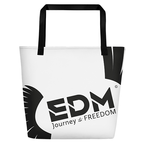 Beach Bag - White EDM Journey to Freedom Print - Black