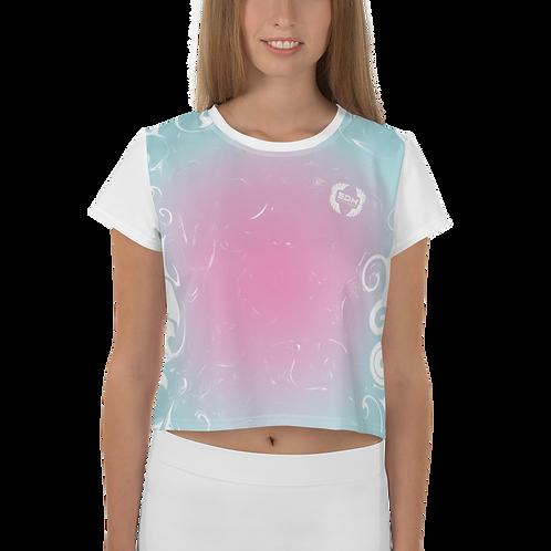 Womens Crop Top - EDM J to F Gradient Blue / Pink Swirl - White