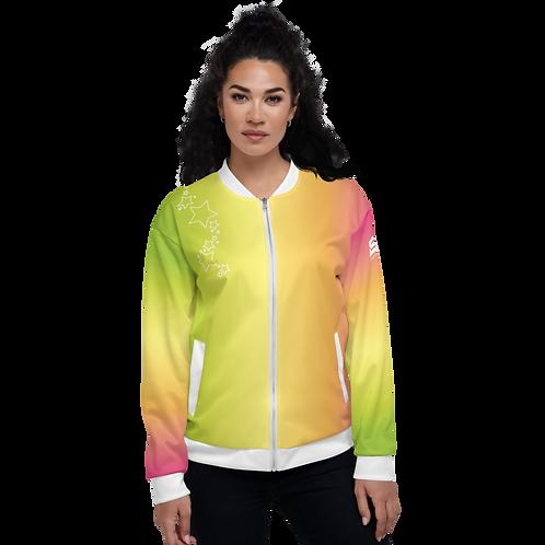 Women's Unisex Fit Bomber Jacket - EDM J to F - Rainbow White Star