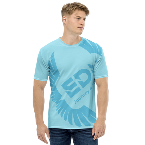 Men's T-shirt Sky Blue - EDM Journey to Freedom Large Print - Blue