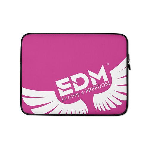 "Dark Pink Laptop Sleeve - 13"", 15"" - EDM Journey to Freedom Print - White"