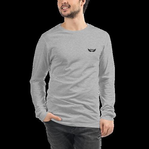 Mens Unisex Long Sleeve T-shirt - EDM J to F logo small - White / Grey