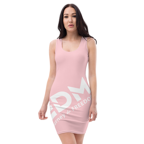 Body Con Dress - Baby Pink EDM Journey to Freedom No wings Print - White