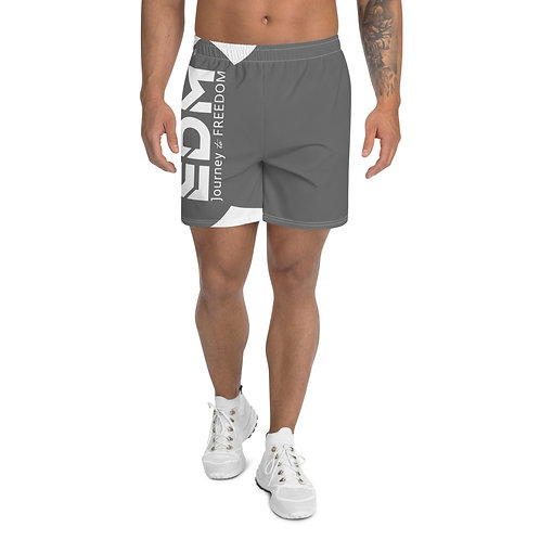 Men's Dark Grey Long Shorts - EDM Journey to Freedom Print - White