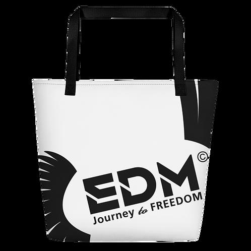 Beach Bag - White EDM Journey to Freedom Print - Black