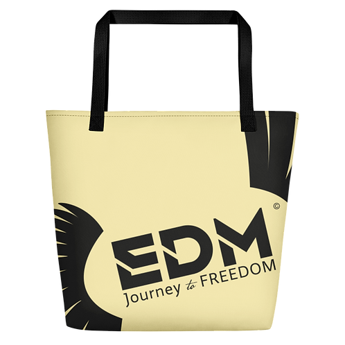 Beach Bag - Light Yellow EDM Journey to Freedom Print - Black