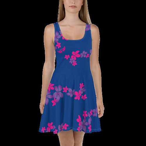 Women's Skater Dress Flower Pattern Print - Royal Blue