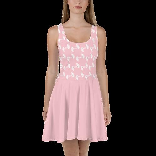 Skater Dress EDM J to F Top Pattern Print White - Baby Pink
