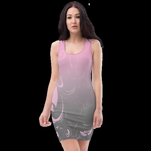 Body Con Dress - EDM J to F Pink/Grey Gradient Swirl - Pink