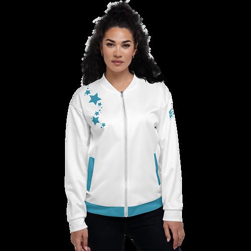 Women's Unisex Fit Bomber Jacket - EDM J to F - White Teal Blue Star